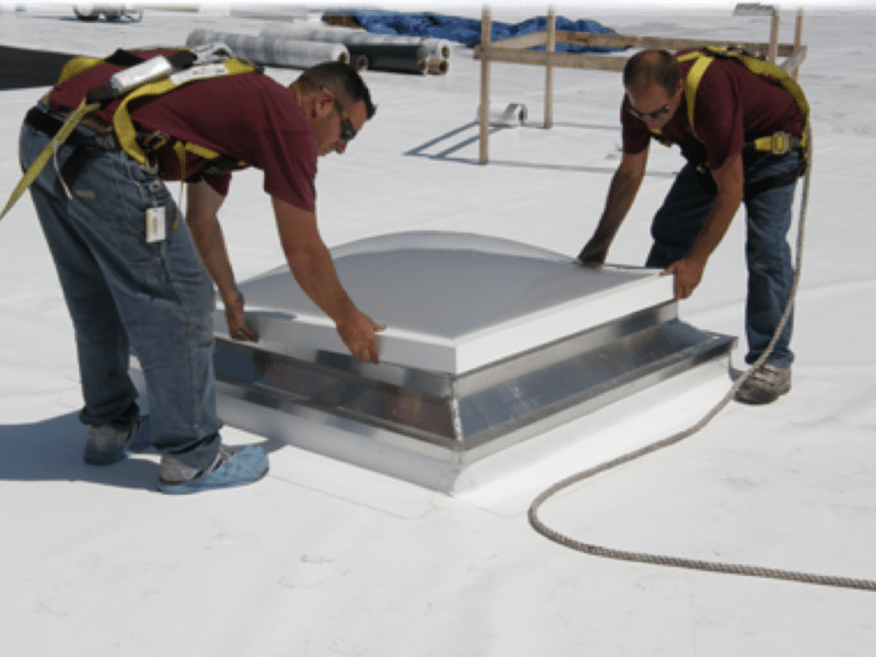 Roofing contractors doing commercial roof maintenance in Ottawa