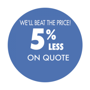 We'll beat the price 5% less on quote for roofing and siding services
