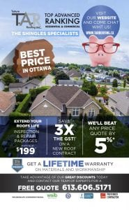 Best Price in Ottawa - Extend Roofs Life, Save 3X the GST, We'll beat any price quote by 5%
